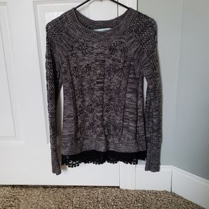 Gray Sweater with Lace bottom detail